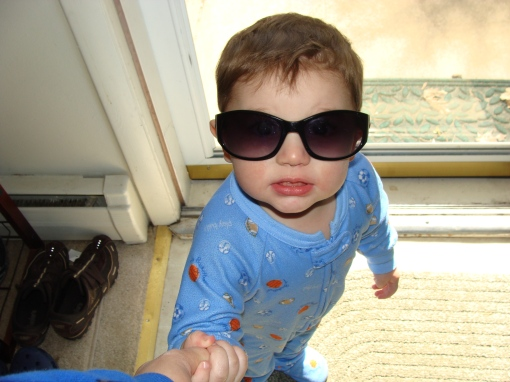 wearing mommy's sunglasses
