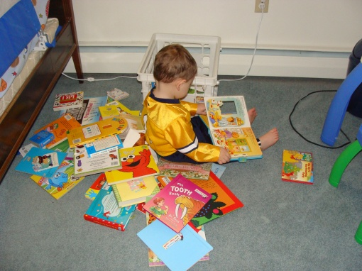 He had to get out EVERY book in his room...
